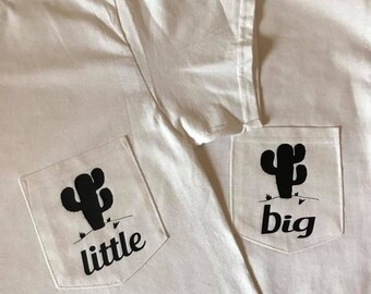 1 pair of Big/Little Cactus Pocket Tees with vinyl (shown in white shirt with black vinyl)