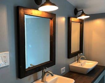 Double Sink Bathroom Mirror Set - 2 Reclaimed Wood Mirrors Size 24 x 28  - Rustic Decor