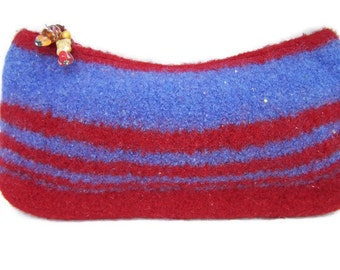 Red Blue Felted Wool Cosmetic Bag, Felted Wool Clutch, Felted Purse, Boiled Wool Handbag, Zippered Bag Blue & Red, Zippered Wool Clutch