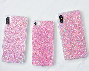 Holographic Pink Glitter Splash Soft Silicone iPhone Case - iPhone 5, 5s, 5SE, 6, 6s, 6 Plus, 6s Plus, 7, 7 Plus, 8, 8 Plus, X