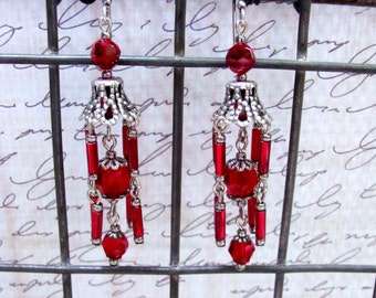 Red Chandelier Earrings, Swarovski Earrings, Red Earrings, Chandelier Earrings, Dangle Earrings, Victorian Earrings, Downton Abbey Earrings