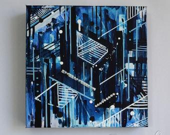 Abstract Blue- Original Acrylic on Canvas