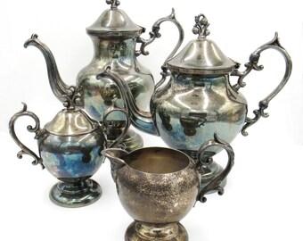 Silver Plate Tea Set ...  sc 1 st  Etsy & Antique tea set | Etsy