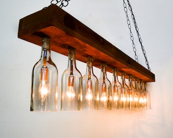 Wine barrel lighting bear creek five light industrial rustic sasya reclaimed barn wood and wine bottle chandelier 100 aloadofball