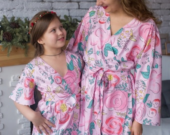Pink Whimsical Giggles Mommy Baby Matching Robes - Perfect Baby shower gift, Matching Outfit, Mom and Me, Matching Hospital Robes, Mini Me