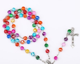 Beautiful colorful  Rosary,unique, fashion rosary, pray, catholic. New sale