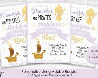 Lavender Gold Princess & Pirate Party Invitation - Princess and Pirate Birthday - Princess Invitation - Personalize in Adobe Reader