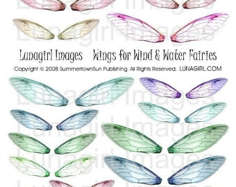 FAIRY WINGS digital collage sheet Dragonfly altered art fairies fantasy elf earrings jewelry crafts blue green purple pink ephemera DOWNLOAD