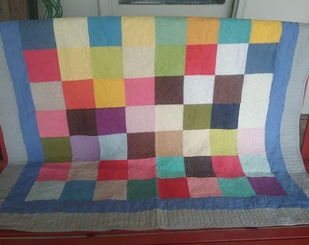 Amish Style Patchwork Quilt Blanket Throw with Soft Colorful Blocks Surrounded in Blue and Gray