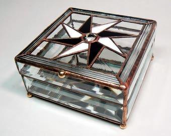 Crystal Beveled Pinwheel Jewel Box