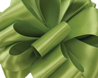 "Satin Ribbon, 1 1/2"" wide,  Lemon Grass Green Double Faced - THREE YARDS - Offray No. 9 Double Sided Satin, Wedding Sash Ribbon, Sewing Trim"