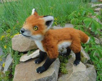 Fully poseable red fox art doll