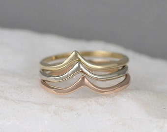 14K Gold Chevron V Ring  - Yellow White or Rose Gold - Wedding Band - Stacking Ring - Minimalist Ring - Geometric Shape - Made in Canada