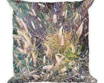fall grasses Square Pillow