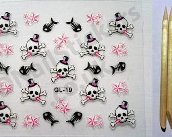 GL-19 Halloween Fish Stars Skulls Cross Bones 3D Nail Art Stickers + FREE 5x wood cuticle sticks