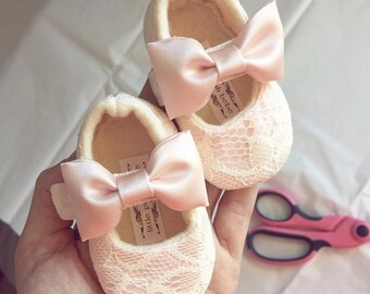 Blush Toddler Girl Shoes Blush Baby Girl Shoes Soft Soled Shoes Lace Ivory Wedding Shoes Easter Shoes Flower Girl Shoes Ivory - Sara