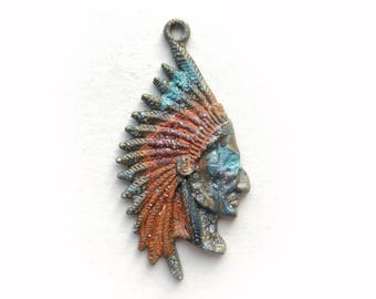 Indian Chief Pendant, Rustic Indian Pendant, Native American Pendant, Southwestern Pendant, Boho Indian, Ancient Alchemy, Dry Gulch, #66468