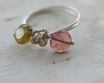 Green and Pink Spinel and Sterling Silver Wire Ring, size 9