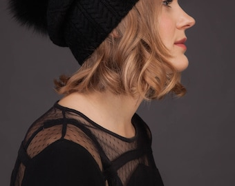 Black Cashmere Women Beanie Hat With Natural Fox Fur Pom-Pom, Knitted Skiing / Sports / Everyday Hat