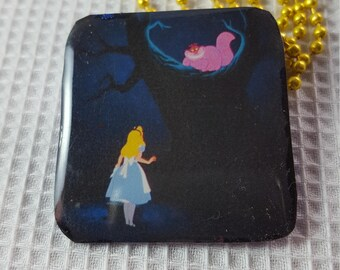 Handmade Alice in Wonderland with Cheshire Cat Found Art Resin Pendant on Glid Ball Chain