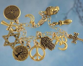 Gold World Religions Coexist Charm Bracelet - Peace Sign, Star of David, Hamsa Hand, Buddha, Om, Ankh, Cross & more- Free Ship USA
