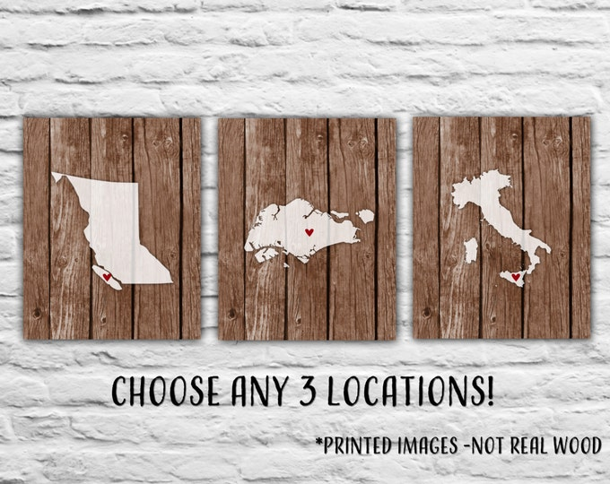 Gift for Best Friends - Three Prints, 8x10 States Maps, Gift for Family Personalized Map Military, Where We've Lived, Mother's Day gift