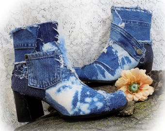 Denim boots - platform boots size 9 -one of a kind boots - unique boots - embellished boots - clunky heel boots -women boots size 9  - # B 2