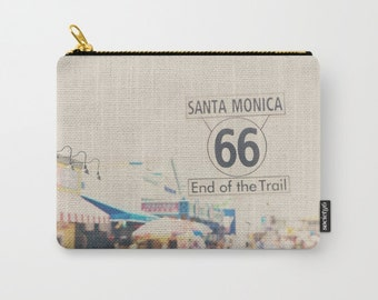 Santa Monica zipper pouch coin purse Santa Monica photograph Route 66 zipper pouch make up case gadget case Route 66 photograph