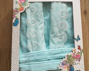 100% Cotton Elegant Bathrobe for Woman /  Made in Turkey - T