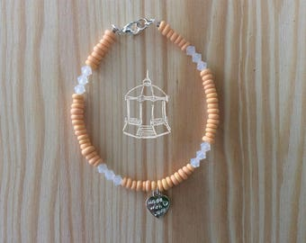 Bracelet - Cristal Swarovski, perles fimo et breloque coeur - Corail