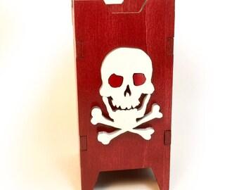 Skull Dice Tower, Dice Tower, Wood Dice Tower, Wood Dice Chute, Skull, Skeleton Dice Tower
