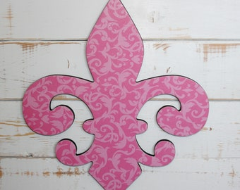Pink Fleur de lis wall decor, Pink wall decor, Fleur de lis wall art, French decor