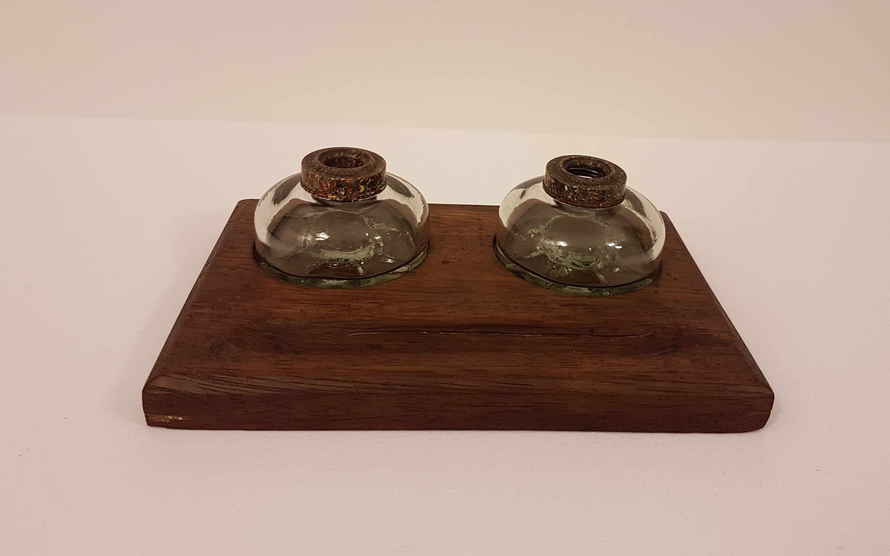 Two glass inkwells with wooden inkstand velos series inkwells with
