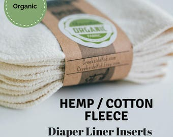 Organic Hemp / Cotton Diaper Liners Soakers Doublers Cloth Diaper Inserts  - Choose Your Colors -Size and Quantity