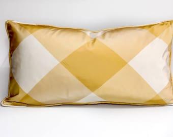 Silk throw pillow, gold pillow cover,  designer pillow, geometric pillow cover