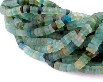 130 Roman Glass Cylinder Heishi Beads - Natural Glass Beads - Ancient Glass Beads - Roman Glass Heishi - Roman Glass Beads (AFG-CYL-BLU-236)