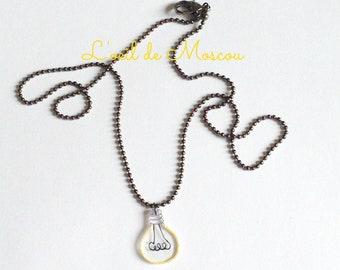 transparent bulb pendant, gun metal chain