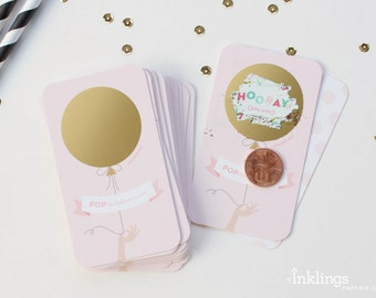 12 Scratch-off Cards // Baby Shower Game, Party Game, Baby Shower Activity, Scratch-off Game, Pink Shower, Unique // Pink and Gold Balloon