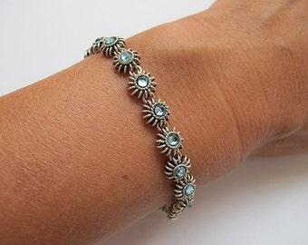 Swarovski bracelet, Filigree bracelet, silver bracelet, crystal bracelet, blue bracelet, Israel Jewelry, Swarovski jewelry, Bridal bracelet