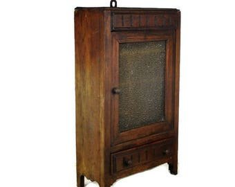 Vintage Oak Medicine Bathroom Standing Cabinet Apothecary Bubbled Beige  Glass