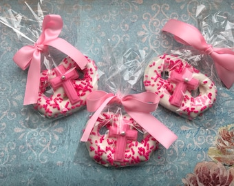 Baptism Favors-Chocolate Dipped Big Pretzels-Baby Girl -Handmade Party Favors -Baby Girl Shower 12-one Dozen