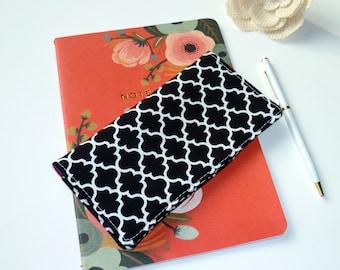 Checkbook Cover. Wallet. Receipt Holder. Black Quatrefoil. Geometric. Gift For Her.