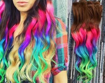 Neon Dream Clip In Hair Extensions, Ombre Hair,  Tie Dye Tips,  Hair Wefts, Human Hair Extensions, Hippie hair