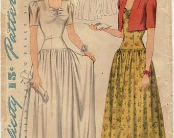 40s Wedding Gown Formal Dress Pattern Simplicity 4122. Gathered Sweetheart Neck, Drop Waist, Full Length Dress and Bolero. Size 14 Bust 32