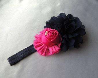 Hot Pink, Polka Dots, and Navy Girls Headband