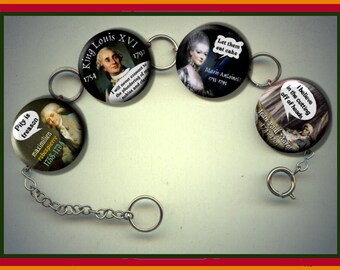 French Revolution Quotes King Louis XVI Marie Antoinette Charm Bracelet with Rhinestones Altered Art Jewelry