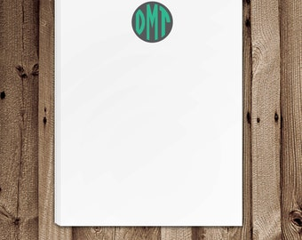 Circle Monogram Notepad, Personalized Notepad, Monogrammed Notepad