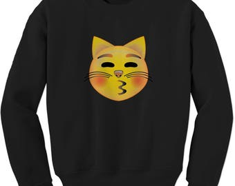 Color Emoticon - Cat Face Smile Adult Crewneck Sweatshirt