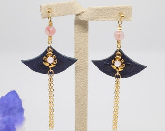 Rose quartz and swarovski pink ostrich leather golden fan invisible clip earrings. Gift for her