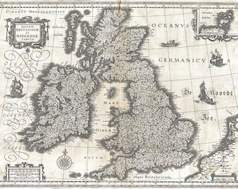 MP3 Vintage Old 1631 Map Of The British Isles Britain Poster Re-Print Wall Decor A1/A2/A3